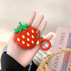 Cartoon Fruit Cases for Airpods 1 2 - Strawberry