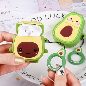 Cute Cartoon Cases For Apple AirPods 1 2 - Avocado 02