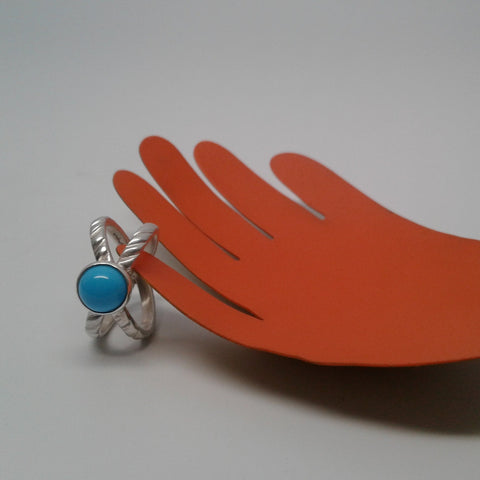 Sleeping Beauty Turquoise Double Rope Ring (size 6.5)