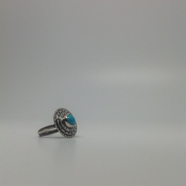 Three Layer Sleeping Beauty Turquoise Ring (size 7.25)