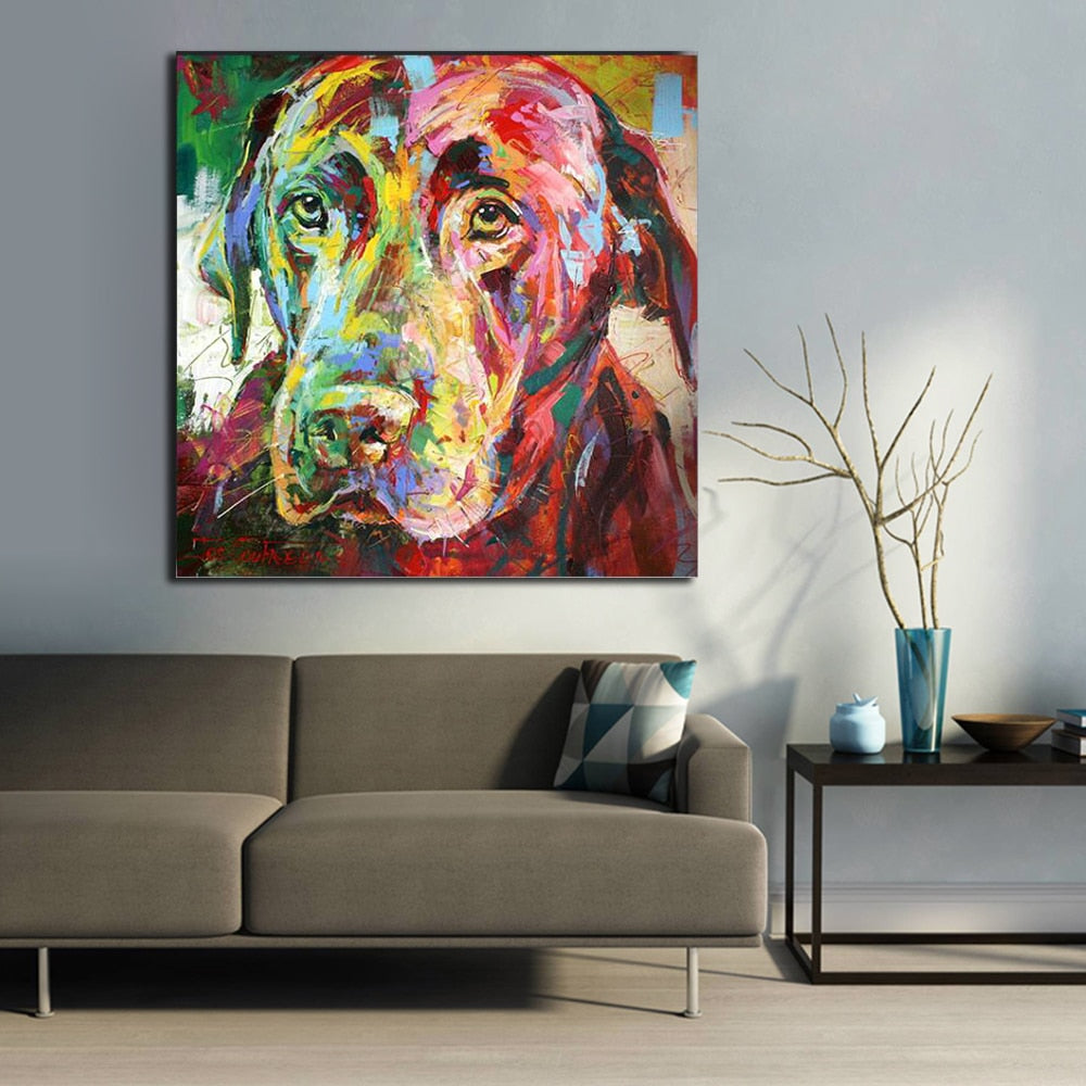 Bold Lab Painting On Stretched Canvas In Multiple Sizes