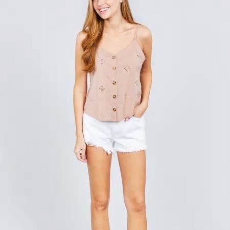 Ava Button Down Eyelet Cami