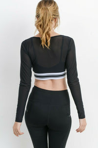 Long Sleeve Mesh Crop Top