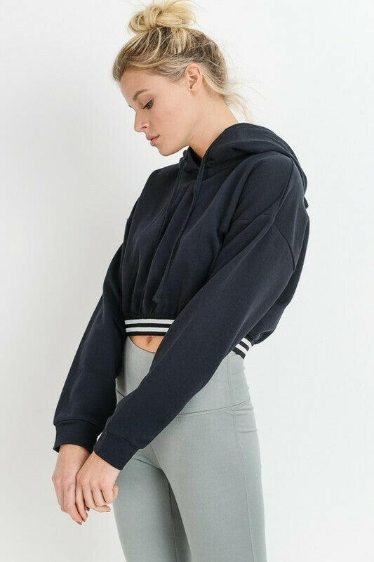 Cotton Terry Varsity Cropped Hoodie