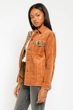 Load image into Gallery viewer, Willow Corduroy Leopard Trim Jacket
