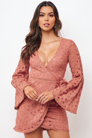 Joelle Lace Floral Wrap Dress