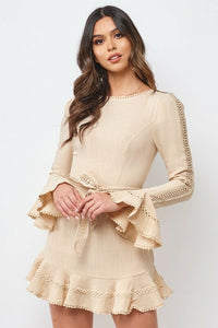 Bell Sleeve Crotchet Trim Dress
