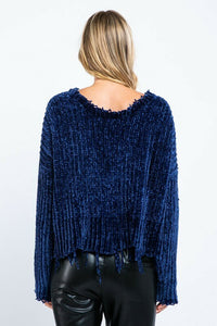 V-Neck Distressed Sweater