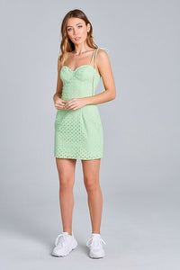 Shoulder Tie Eyelet Dress