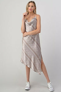 Nicki Cowl Neck Satin Dress