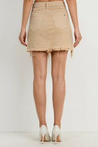 Frayed Hem Color Skirt