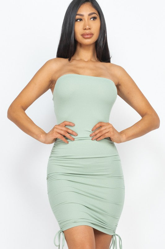 Ruched Tube Dress Green
