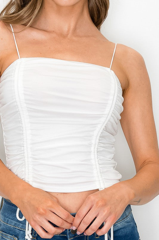 Ruched Basic Top White
