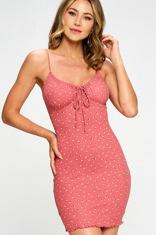 Allie Ribbed Ditsy Dress