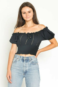 Puff Sleeve Smocked Cropped Blouse