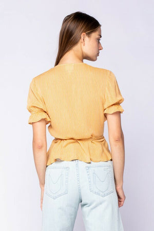 Sunny Front Wrap Stripe Top