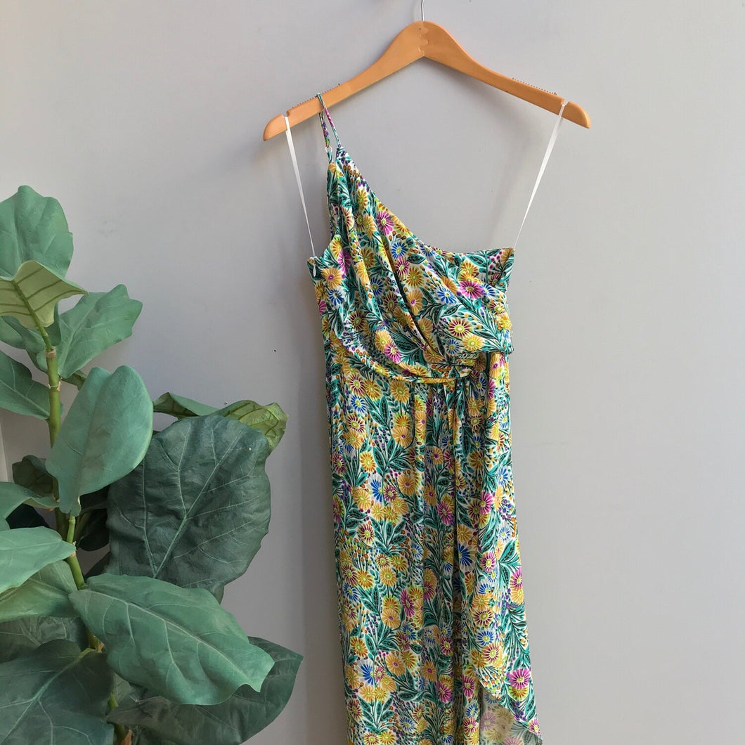 One Shoulder Abstract Slit Dress