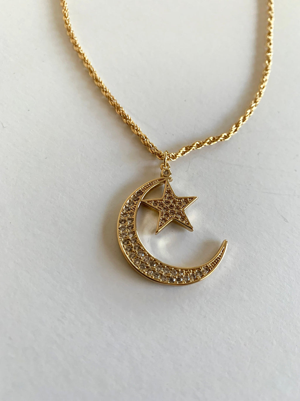 "Brass 16"" Necklace with Moon and Star CZ Charm"