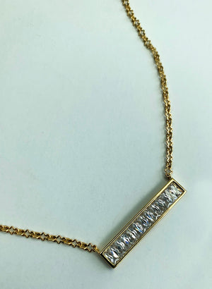 "18k Gold Plated CZ Bar 16"" Necklace"