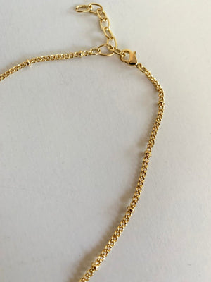18k Gold Plated CZ Horn Necklace