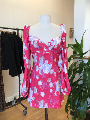 Faded Florals Puff Sleeve Dress