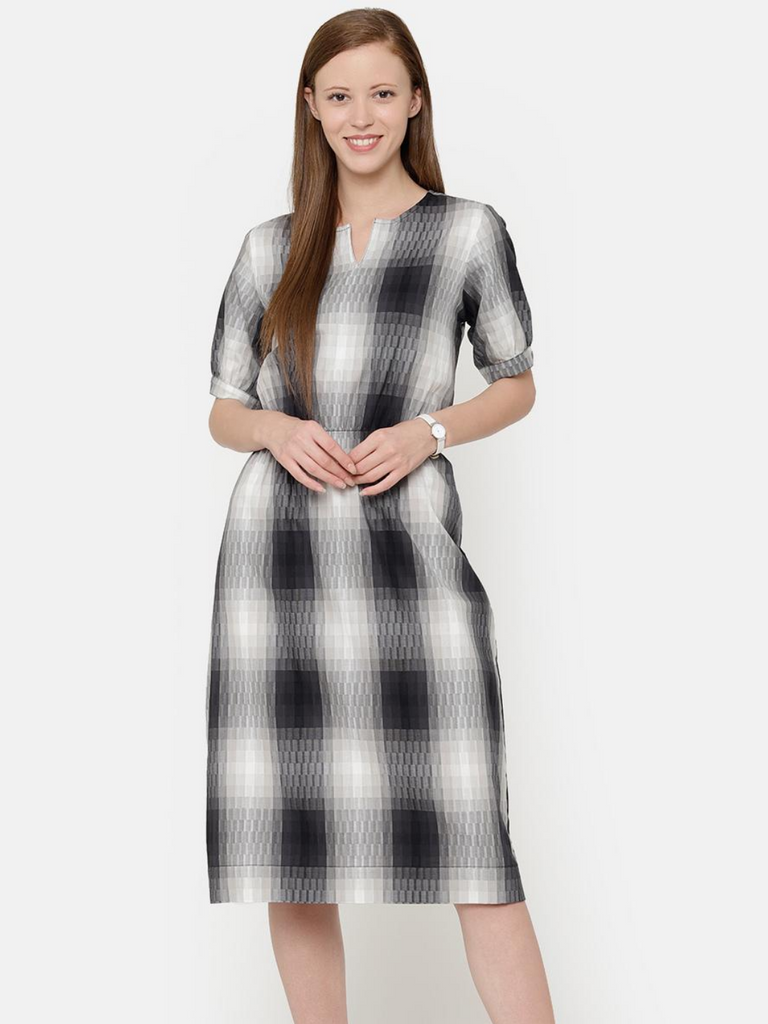 The Work Label - Black and White Pocket Shirt Dress -  Women's western work-wear in India
