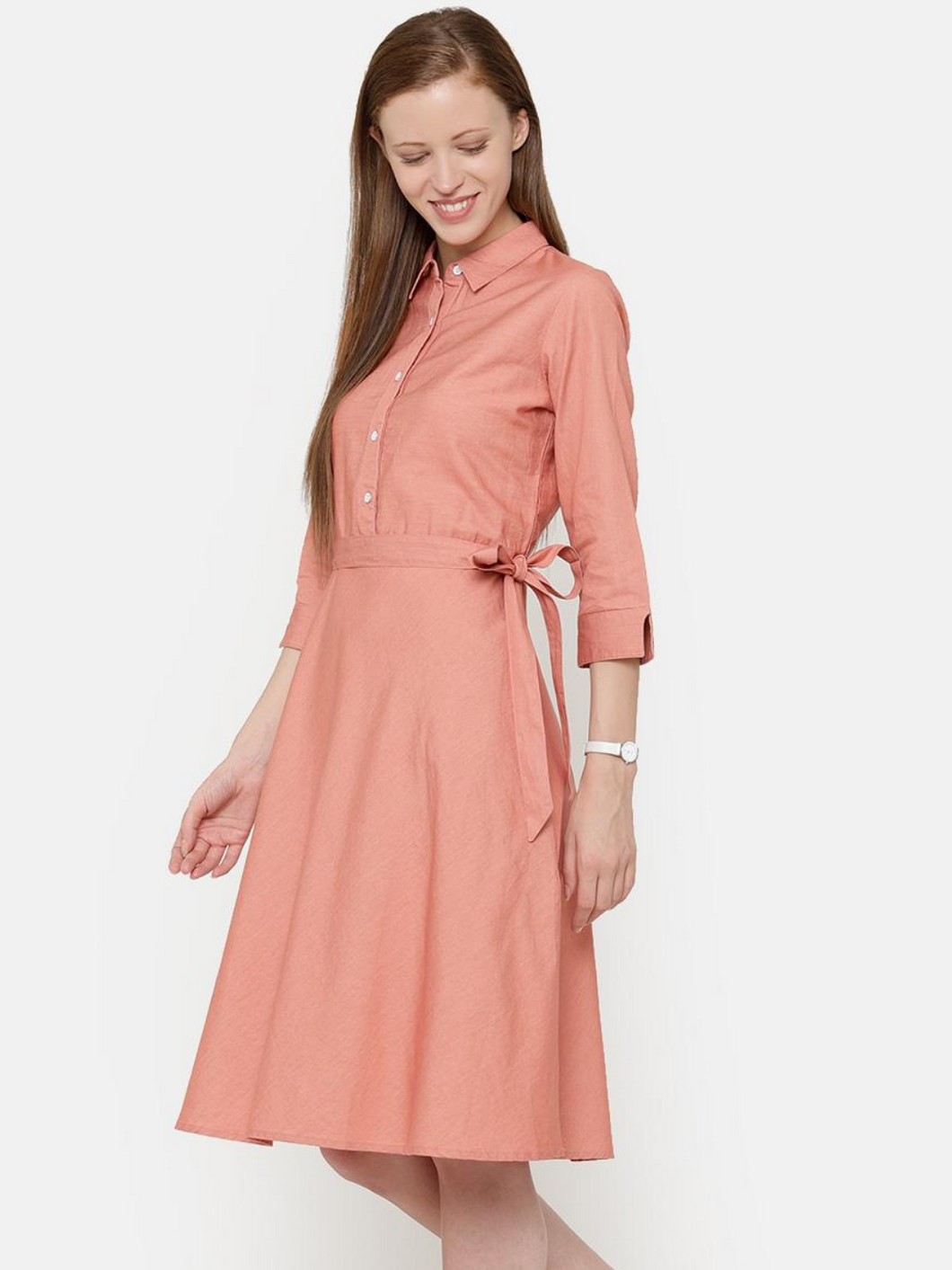 The Work Label - Pink Pocket Shirt Dress -  Women's western work-wear in India