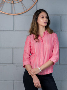 Pink Lurex Hidden Placket Shirt