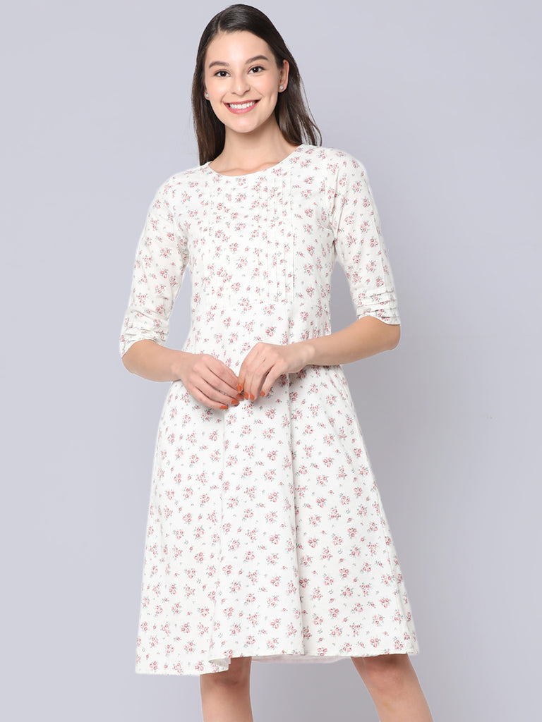 Off White Floral Pleated dress