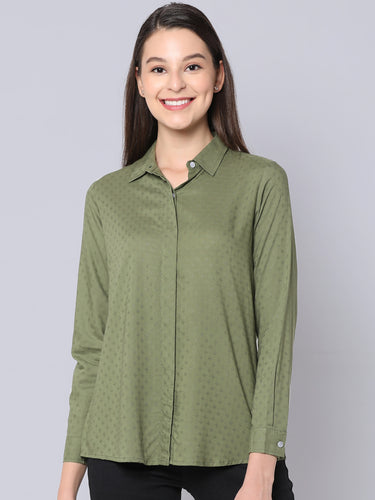 Cinnamon Closet - Viscose Dobby Shirt Best Online fashion for Ladies in India
