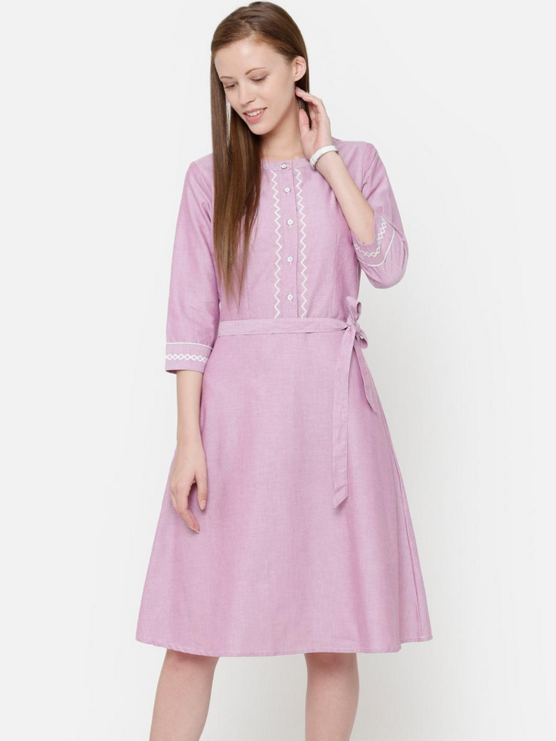 The Work Label - Pink Embroidered Button Down Pocket Dress -  Women's western work-wear in India