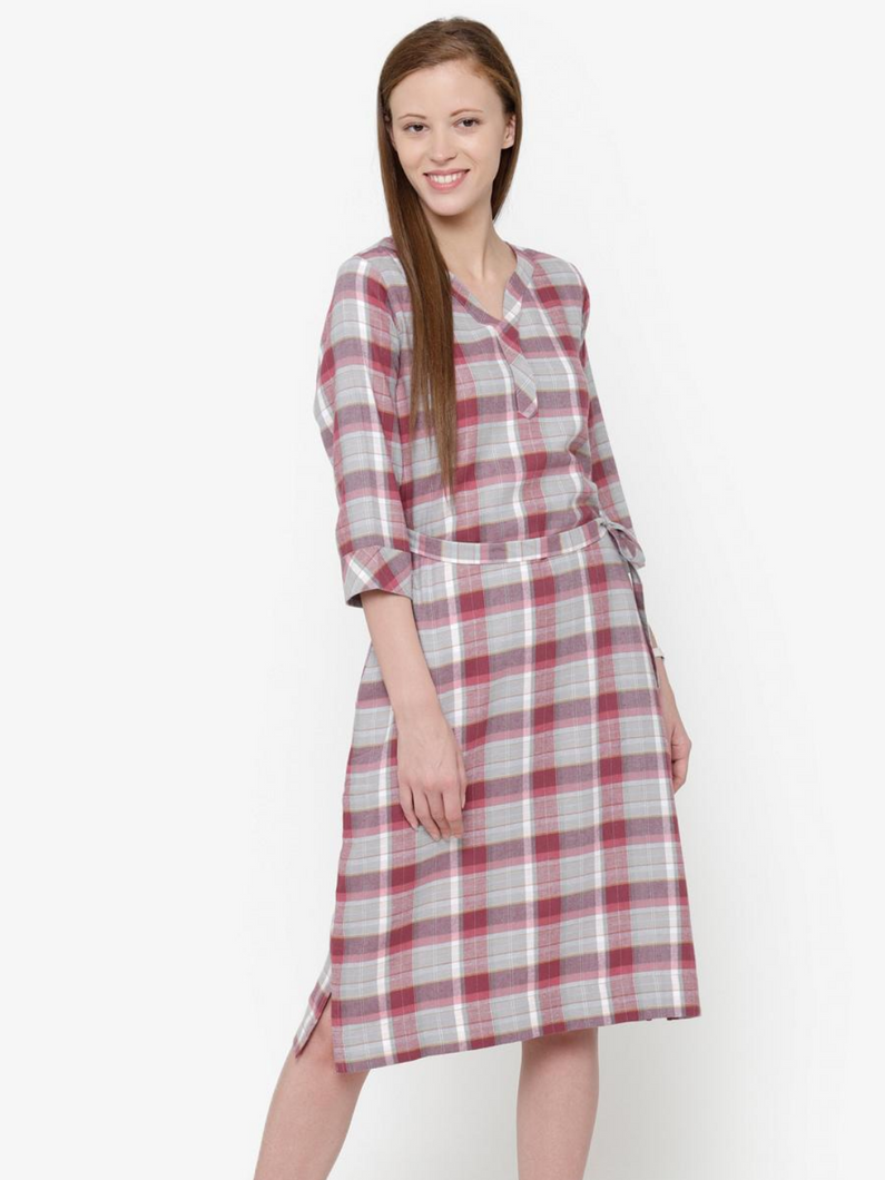 The Work Label - Pink Plaid Pocket Dress -  Women's western work-wear in India