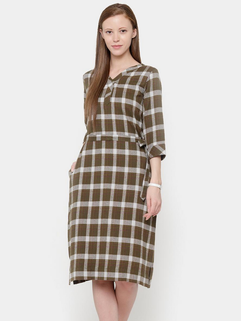 The Work Label - Plaid Flat Collar Pocket Dress -  Women's western work-wear in India