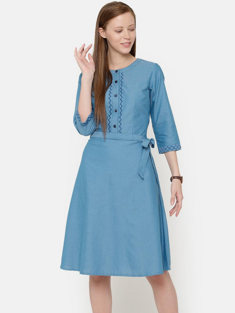 The Work Label - Blue Embroidered Pocket Dress -  Women's western work-wear in India