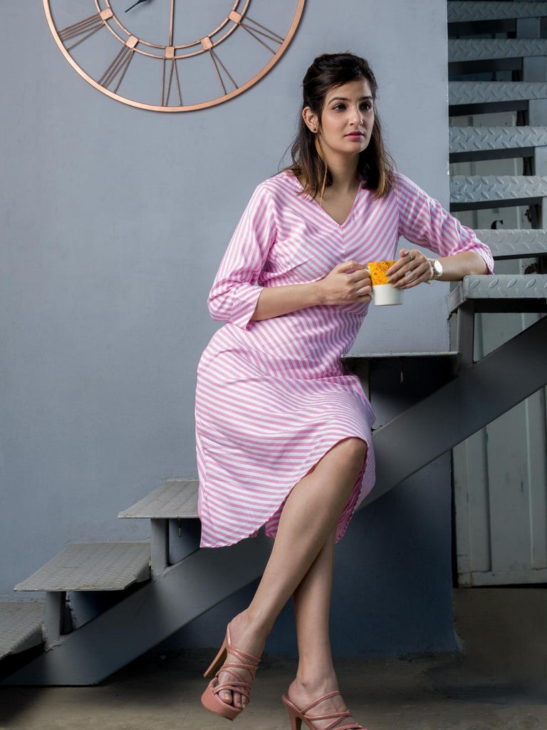 The Work Label - Pink and White Stripes Pocket Dress -  Women's western work-wear in India