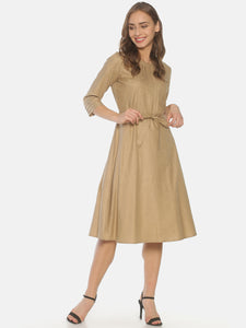 Brown Top Pleated Pocket Dress