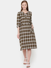 Load image into Gallery viewer, Plaid Flat Collar Pocket Dress