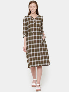 Plaid Flat Collar Pocket Dress