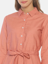 Load image into Gallery viewer, Pink Pocket Shirt Dress
