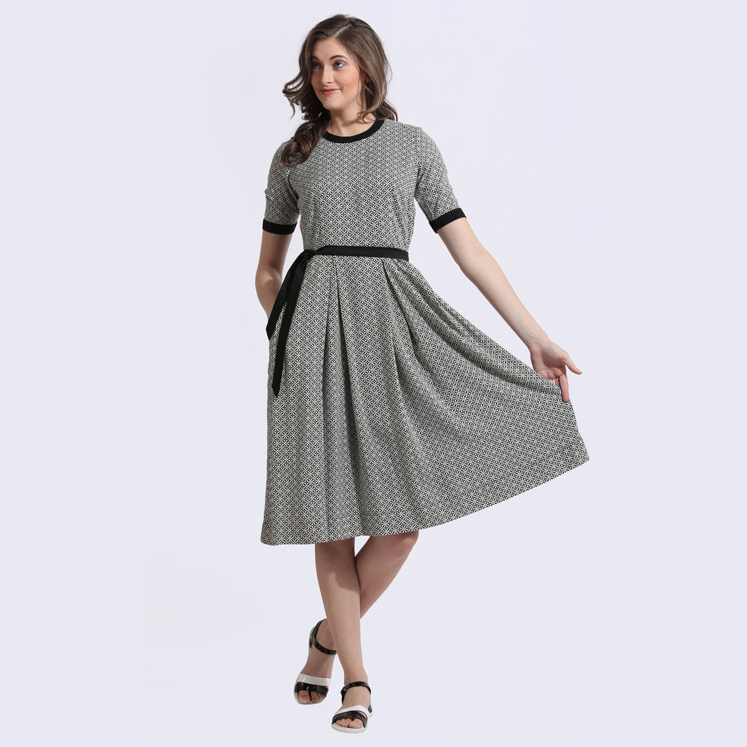 The Work Label - Star Print fit & flare Dress -  Women's western work-wear in India