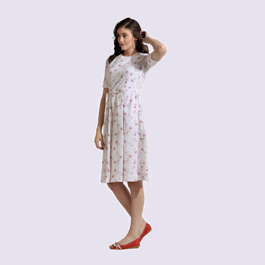 The Work Label - White printed Pocket Dress -  Women's western work-wear in India