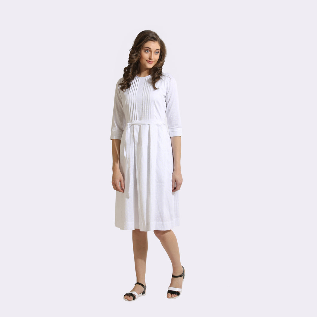 The Work Label - White polka dots Pocket Dress -  Women's western work-wear in India