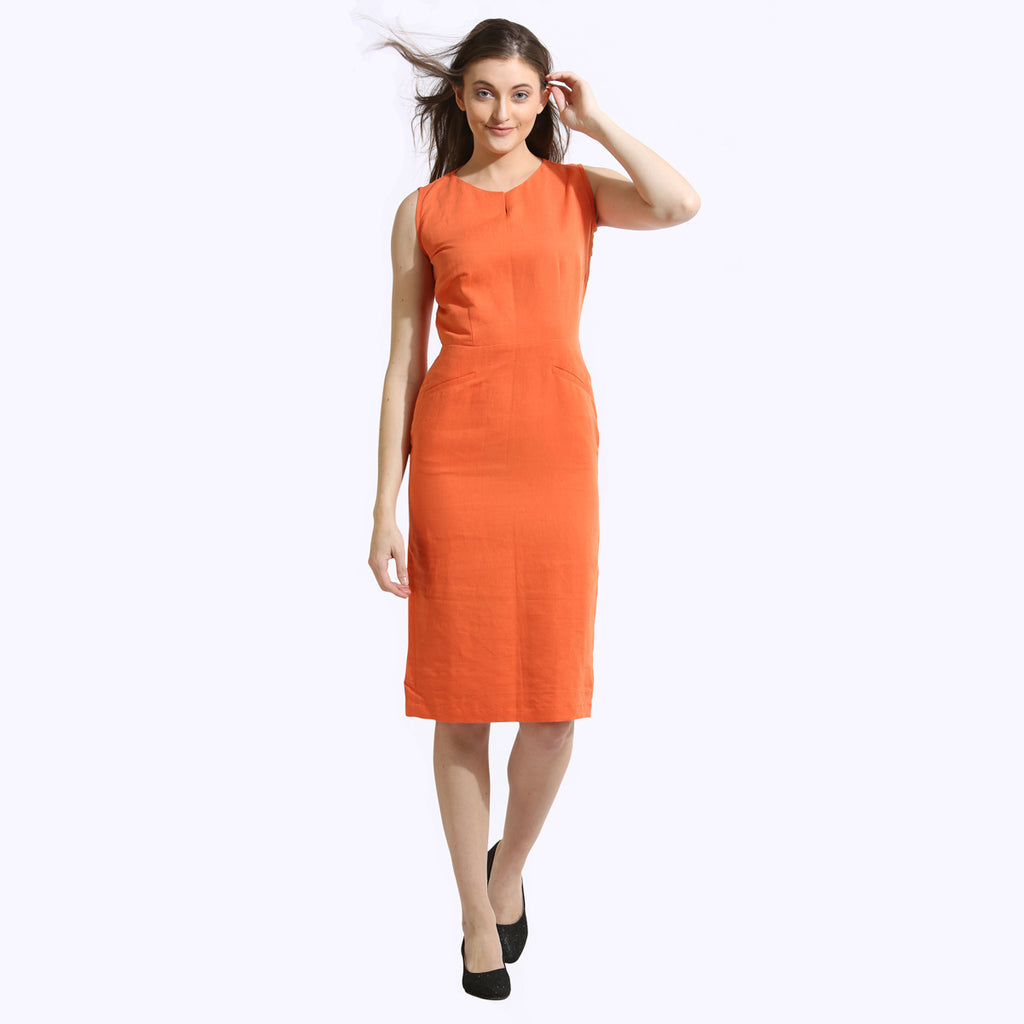 The Work Label - Orange Straight Fit Pocket Dress -  Women's western work-wear in India
