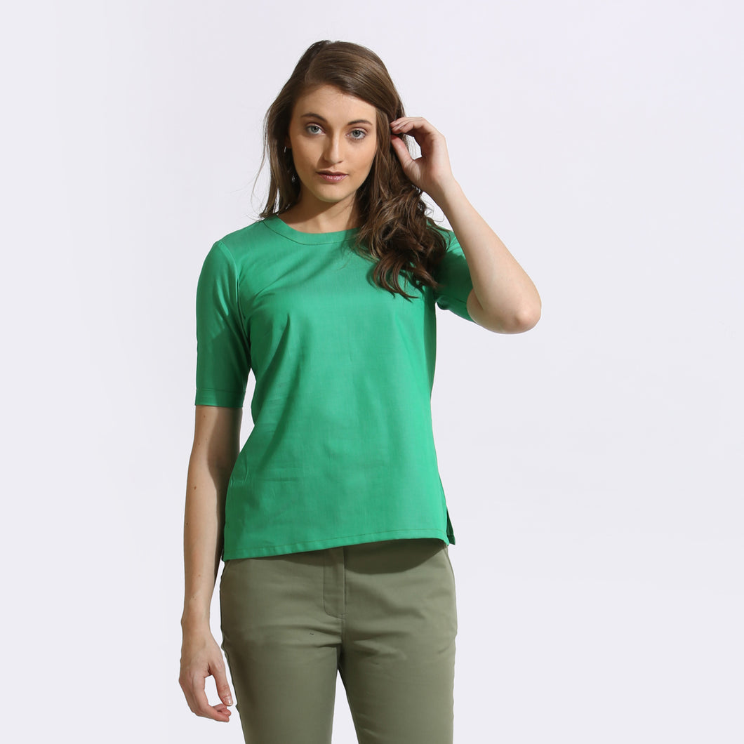 The Work Label - Green Chambray Round Neck Top - Women's western work-wear in India