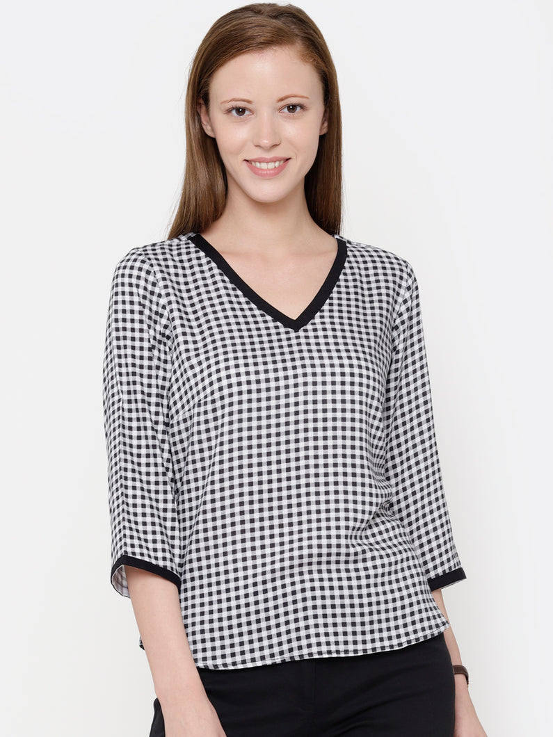 The Work Label - Black & White Checkered V Neck Top - Women's western work-wear in India