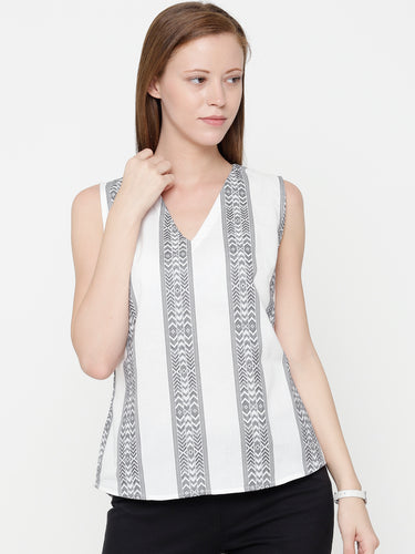 The Work Label - Striped V Neck Sleeveless Top - Women's western work-wear in India