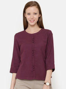 The Work Label - Purple Front Button Top - Women's western work-wear in India