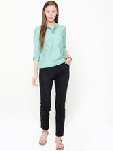 Load image into Gallery viewer, Green Chambray Shirt Collar Top