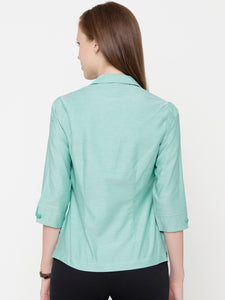 Green Chambray Shirt Collar Top