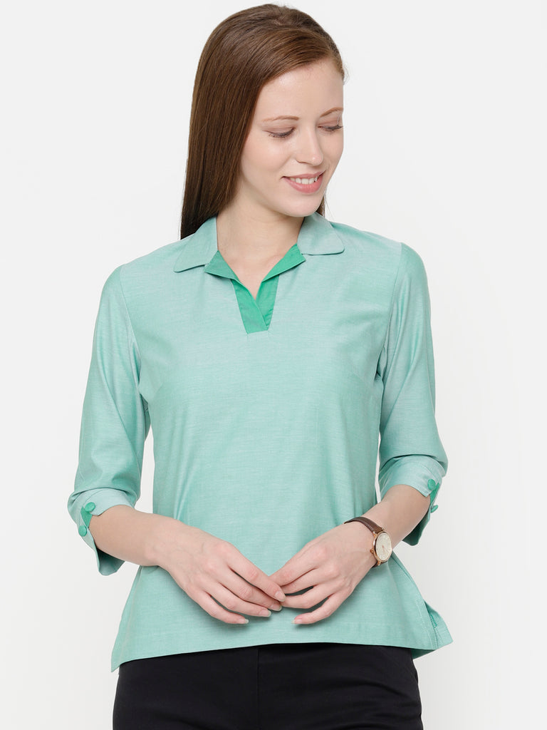 The Work Label - Green Chambray Shirt Collar Top - Women's western work-wear in India